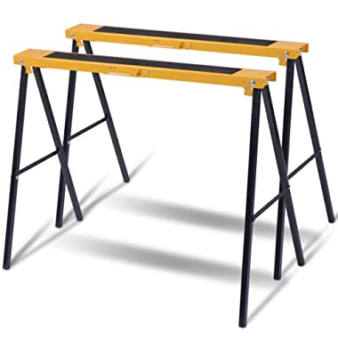 Goplus 2-Pack Sawhorse Pair Folding Metal Stands, Heavy Duty Fully Assembled Saw Horses, Portable Foldable Legs Stands Twin Pack, 275 lb Weight Capacity Each