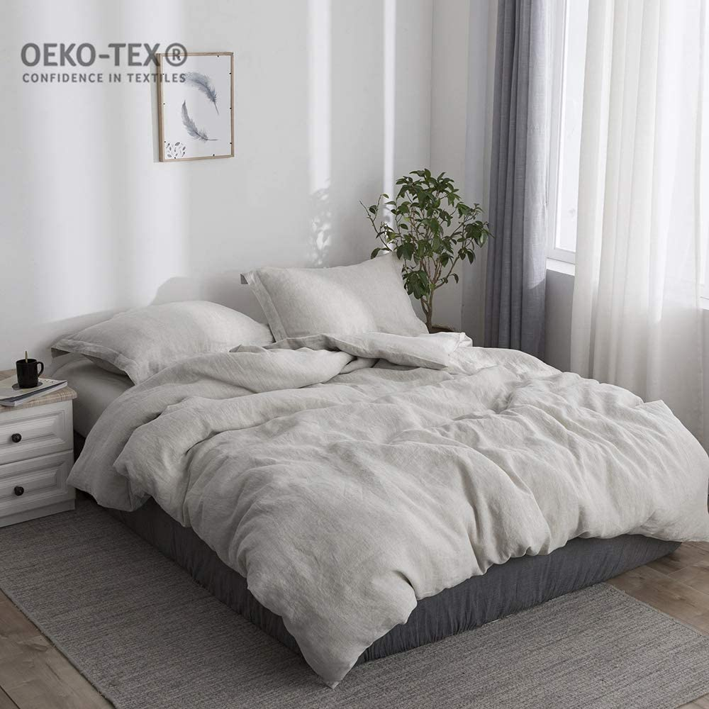 Simple&Opulence 100% Stone Washed Linen Solid Color Basic Style King Queen Duvet Cover Sets (Linen, King)