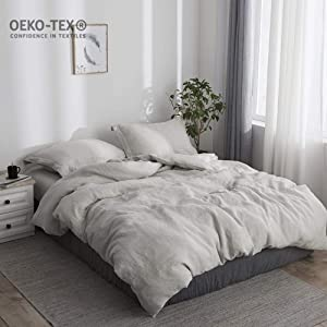 Simple&Opulence 100% Stone Washed Linen Solid Color Basic Style King Queen Twin Full Duvet Cover Sets (Linen, Queen)