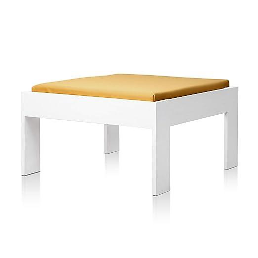 SUENOSZZZ - Sofa Jardin de Madera de Pino Color Blanco, MEDITERRANEO Mod. chaiselonge, Sillon cojín Polipiel Color Mostaza. Muebles Jardin Exterior. ...