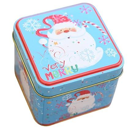 RemeeHi Bordado Hierro Caja de Lata de Navidad Cajas de Candy Pastel de Luna (hojalata