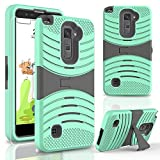 Phone Case for LG Stylo 2 4g LTE Tempered Glass Screen Protector with Heavy Duty Armor Cover Green-Black Stand