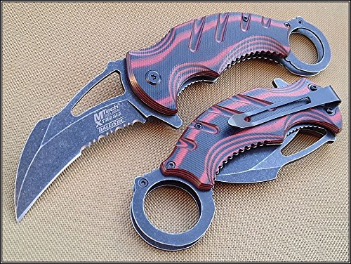 MTECH XTREME TWO TONE WOOD HANDLE KARAMBIT KNIFE 5 INCH CLOSED WITH CLIP + free eBook by ProTactical'US ()
