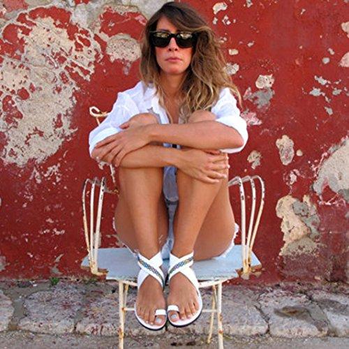 Infradito Gladiatore Donna Sandali Strappy a Croce Piatto Tacco Peep Estivi Donna Cintura Donna SmrBeauty Sandali da Sandali Sandali Ragazze Bianco Roma Scarpe Elegante Toe EOZBqwc6Y