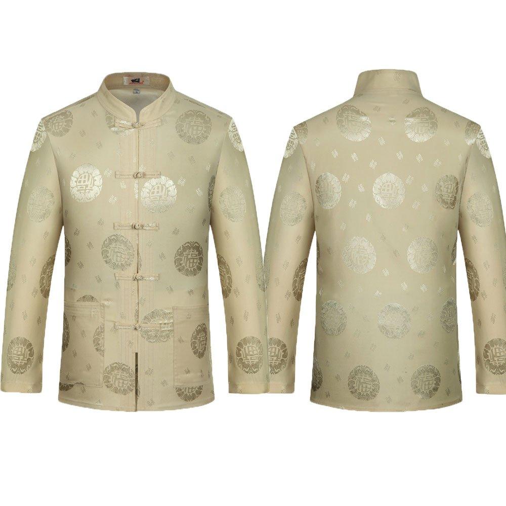 Airuiby Tang Anzug M/änner Traditionelle chinesische Kleidung Anz/üge Hanfu Baumwolle Lang/ärmeliges Shirt Mantel Herren Tops