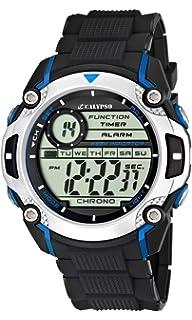Calypso watches - Reloj digital de cuarzo para niño con correa de caucho, color negro