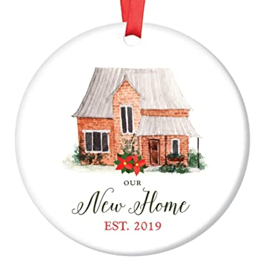 Our New Home Ornament Est. 2019 Christmas Collectible Bridal Shower Wedding Gift First Time House Homeowner 1st Holiday New Property Buyer 3  Flat Ceramic Keepsake w Red Ribbon Free Gift Box OR00019