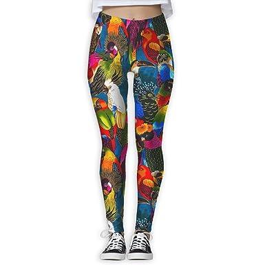 ZeTian H Women Parrot Party Printed Yoga Pants Popular Workout Leggings  Yoga Capris Sport Wear 732b768195
