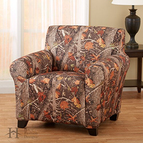 Kings Camo Woodland Shadow Printed Strapless Slipcover. Form Fit, Slip Resistant, Stylish Furniture Shield / Protector. By Home Fashion Designs Brand. (Chair)
