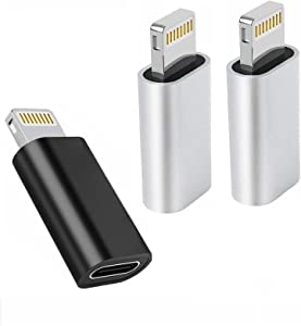 Apple MFi Certified USB C to Lightning Adapter, 3 Pack USB C Female to Lightning Male Adapter Compatible with iPhone 12 11 XR XS X 8, iPhone Charger Converter Support Fast Charging and Data Syncing