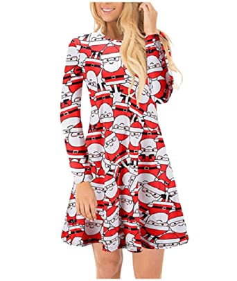 zimaes women long sleeve classic christmas fall winter painting dresses 1 xs - What Day Does Christmas Fall On