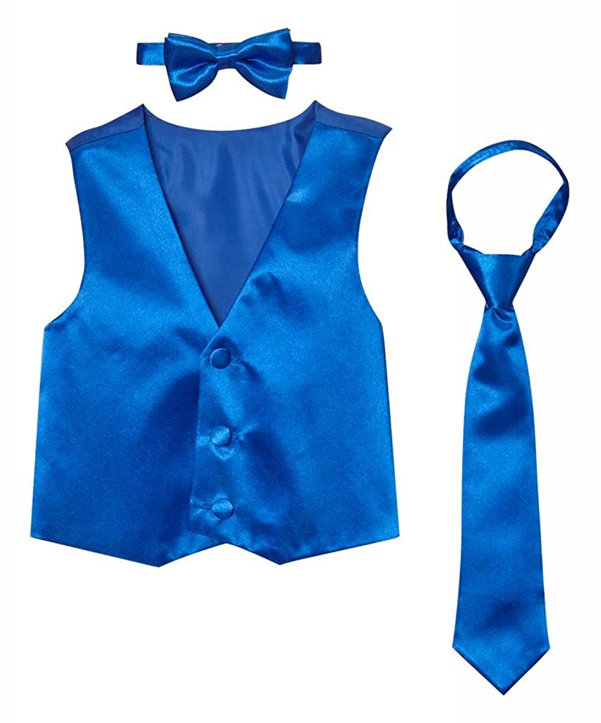 Classykidzshop Solid Royal Blue Vest with Bow Tie and Long Tie CKS5741