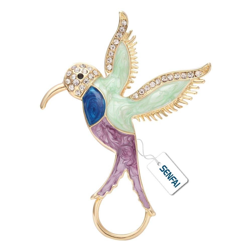 SENFAI Fashion Hummingbird 3 Color Circle Clip Holder Magnetic Eyeglass Holder Brooch Jewelry (3)