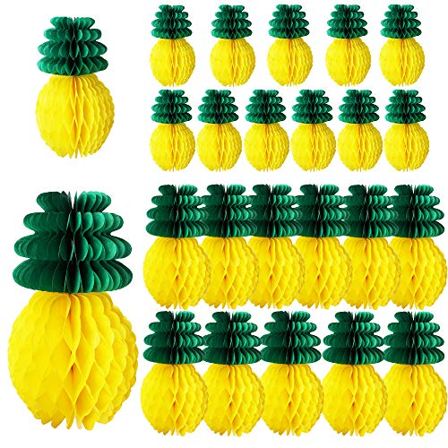 Nilos 24 Pack Tropical Hawaiian Party Decorations, Tissue Paper Pineapples Party Supplies, 8 Inch and 12 Inch Pineapple Honeycomb Centerpieces for Tropical Luau Hawaiian Jungle Party Table Hanging Decorations