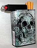 Cigarette Case Grey Skull with Built on Lighter Holder