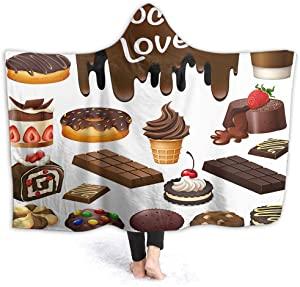 AOYEGO Chocolate Blankets Hoodie Dessert Cake Bread Cookie Donut Food Ice Dot Snack Sweet Strawberry Blanket Poncho Soft 60X50 Inch Anti Pilling Flannel for Picnic Men Women Girls Boys