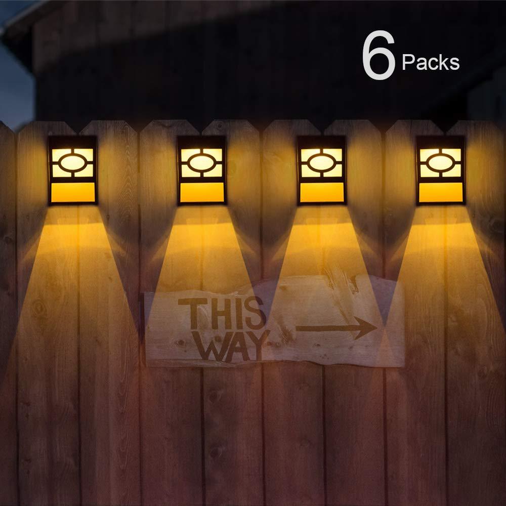 Solar Deck Lights, Outdoor Garden Decorative Fence Post Lighting, Black 6 Packs by GYMAOYI