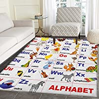 Educational Rugs for Bedroom Animals Placed on Letter of the Alphabet Teachers Chart Classroom Kindergarten Circle Rugs for Living Room 2x3 Multicolor