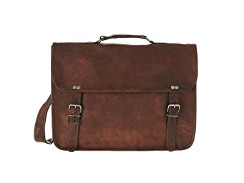 Mens Large Leather Satchel Briefcase Laptop Shoulder Bag by Vida ...