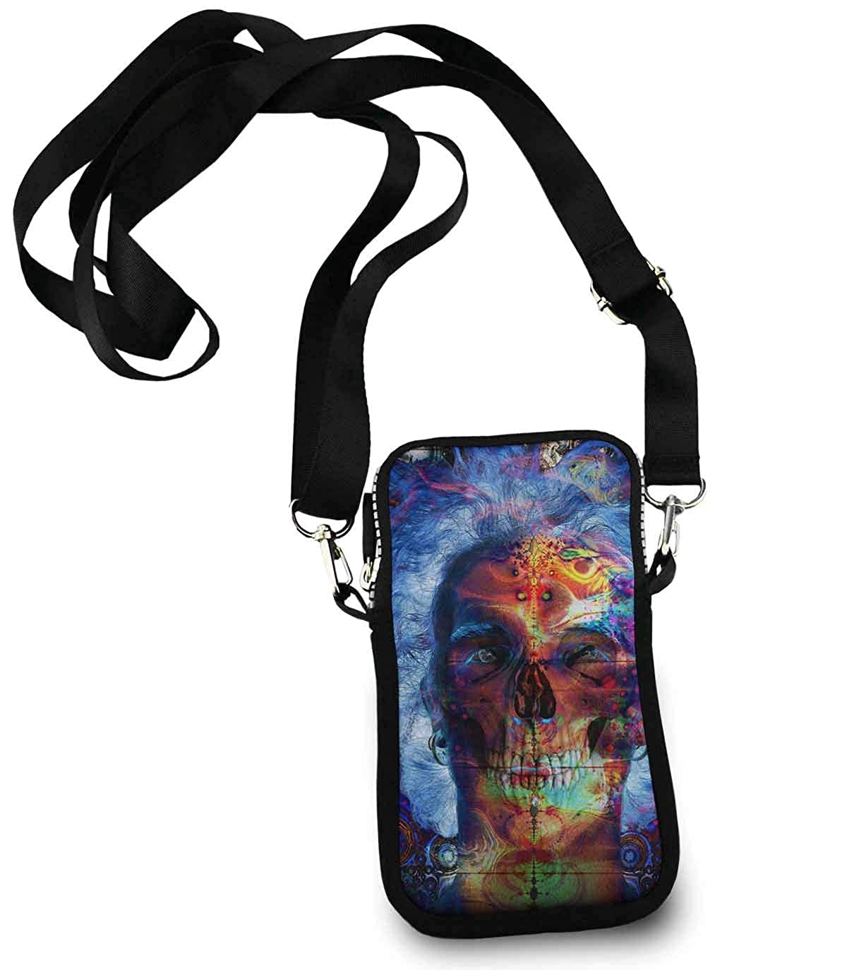 Roomy Pockets Series funny hippy sugar skulls Small Crossbody Bag Cell Phone Purse Wallet For Women Girls