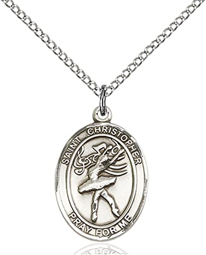 Bonyak Jewelry St Christopher Dance Hand-Crafted Oval Medal Pendant in Sterling Silver