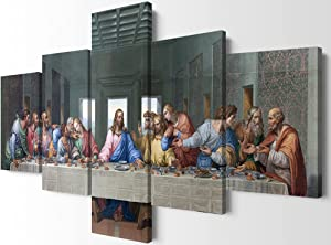 YOUHONG Modern The Last Supper Wall Art Leonardo Da Vinci Canvas Wall Art 5 Piece Famous Jesus Oil Painting Reproduction Canvas Wall Art for Home and Office Decor (60''W x 32''H)