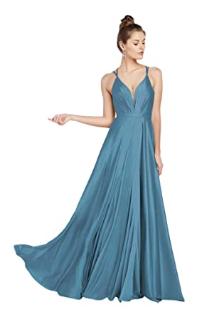 7ab846ceaf98 Alyce Paris 60450 Plunging V-Neck Gown with Slit Santorini Blue ...