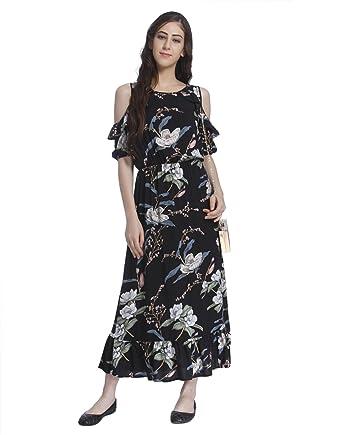offizielle Bilder neuesten Stil einzigartiges Design ONLY Damen Cold Shoulder Kleid Sommerkleid Langes Kleid ...