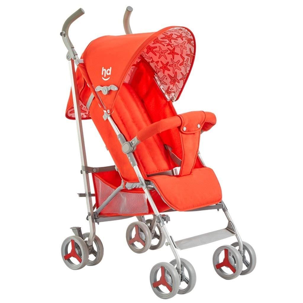 旅行ベビーカー軽量折りたたみ吸汗性通気性カート大スペース四輪レインシェードベビーカー ( Color : Orange , Size : 47*60*110cm )   B07QQRT5F5