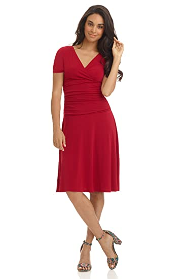 Rekucci Women's Slimming Short Sleeve Fit N Flare Crossover Tummy Control Dress by Rekucci