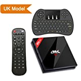 SINUK Android 7.1 TV Box with Mini Wireless Qwerty Keyboard, 2017 Model H96 Pro plus 4K Android TV Box 3GB RAM 32GB ROM and Bluetooth 4.1 with Octa-core CPU 64 Bits Amlogic 912