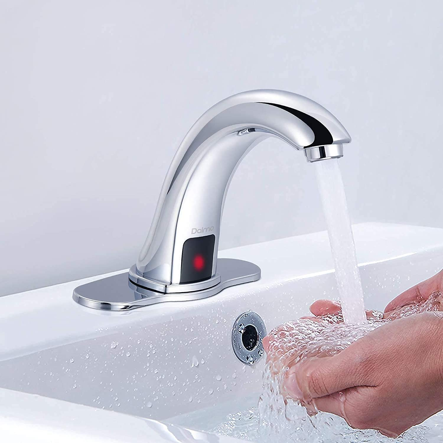 Dalmo Automatic Sensor Touchless Bathroom Sink Faucet with Hole Cover Plate, Chrome Hands Free Bathroom Water Tap with Control Box and Temperature Mixer, 1-Hole/3-Hole Vanity Faucet, Battery Powered: Home Improvement