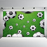 Mehofoto Soccer Backdrop Green Football Field Photography Background for Children Kids Sports Theme Backdrops for Photographers Photo Shoot Props 7x5