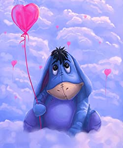 DIY Diamond Painting by Number Kits,Eeyore 5D Crystal Rhinestone Diamond Embroidery Paintings Pictures Arts Craft for Home Wall Decor, (12 x 16 in) GT129