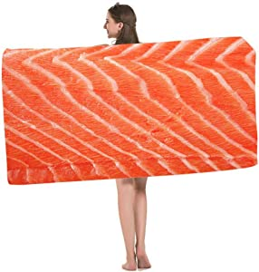 HOSNYE Salmon Fillet Beach Towel Fresh Fish Seafood Piece of Big Red Salmon Fillet Over White Soft Highly Absorbent Bath Towels for Swimming, Sports, Beach, Gym, Bathroom
