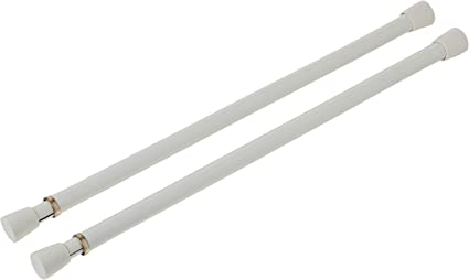 Spring Window Fashions 7//16-Inch Round Spring Tension Rod 28 to 48-Inch Adjustable Width White