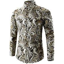 FUNIC Mens Shirt, Hot Color Printed T-Shirt Sports Casual Long Sleeve Tee Tops Blouse (3XL, Gold)