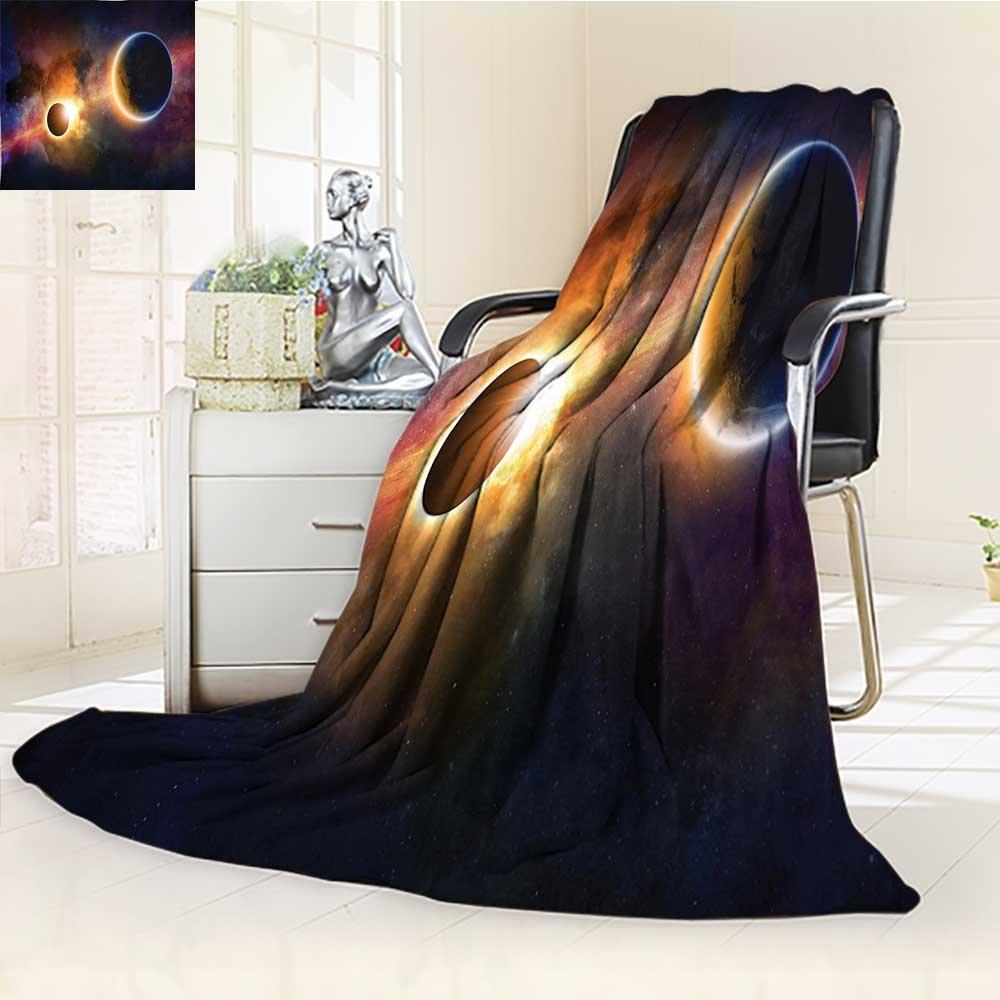 YOYI-HOME Duplex Printed Blanket Ultra-Plush in Milky Way Dark Nebula Gas Cloud Celestial Solar Eclipse Galaxy Theme Multi Couch, Outdoor, Travel Use./W79 x H59
