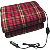 Awhao Car Electric Fleece Cosy Warm Blanket 12V Car Heating Blanket Energy Saving Warm Electric Blanket for Cold Weather