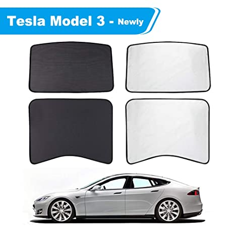 Tachico Tesla Model 3 Glass Roof Sunshadecar Sunroof Overhead Roof Uv Heat Insulation Film Protection Window Sun Shadehalf Covered Rear Sunshade Uv
