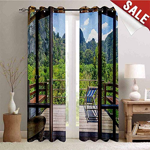 Modern, Decor Curtains by, Summer Vibes Sunny Day in Forest Mountain Flowers Photograph, Room Darkening Wide Curtains, W96 x L108 Inch Pale Green Dark Green and White
