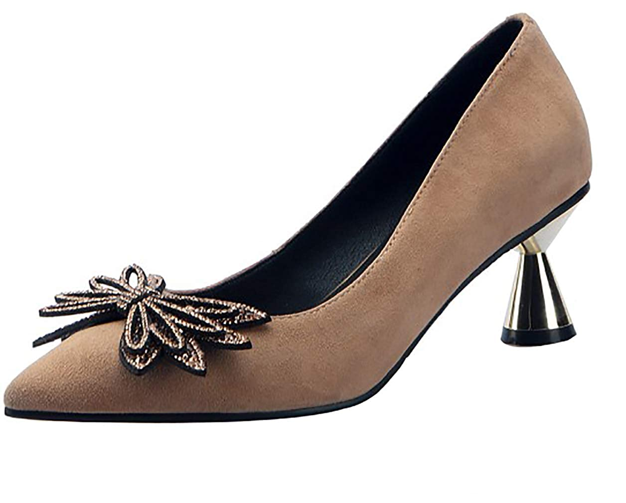 Calaier Womens guima Pointed-Toe 5.5CM Block Heel Slip-on Pumps-Shoes Shoes