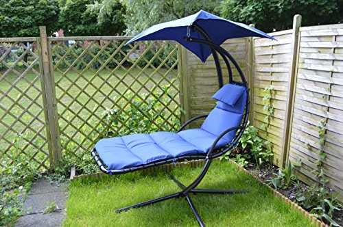 tumbona oscilante colgantes tumbonas dream chair tumbona de jardn tumbona de jardn azul con cmodo cojn almohada y toldo grande amazones jardn