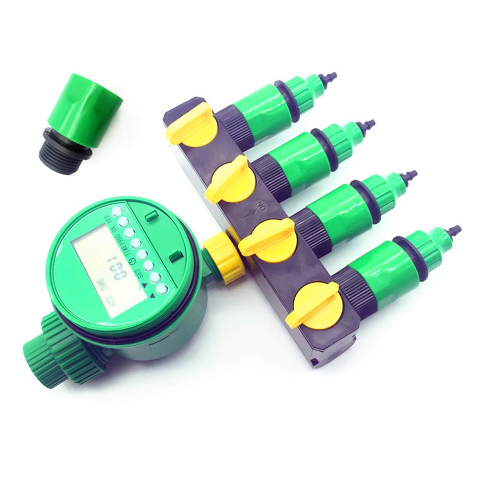 NYW-Guangaiqi 1 Set (7 pcs) Home Garden Irrigation Drip Timer Pipe Splitter 4 Way Tap Connectors Quick Connector 3/4 Screw Thread Interface