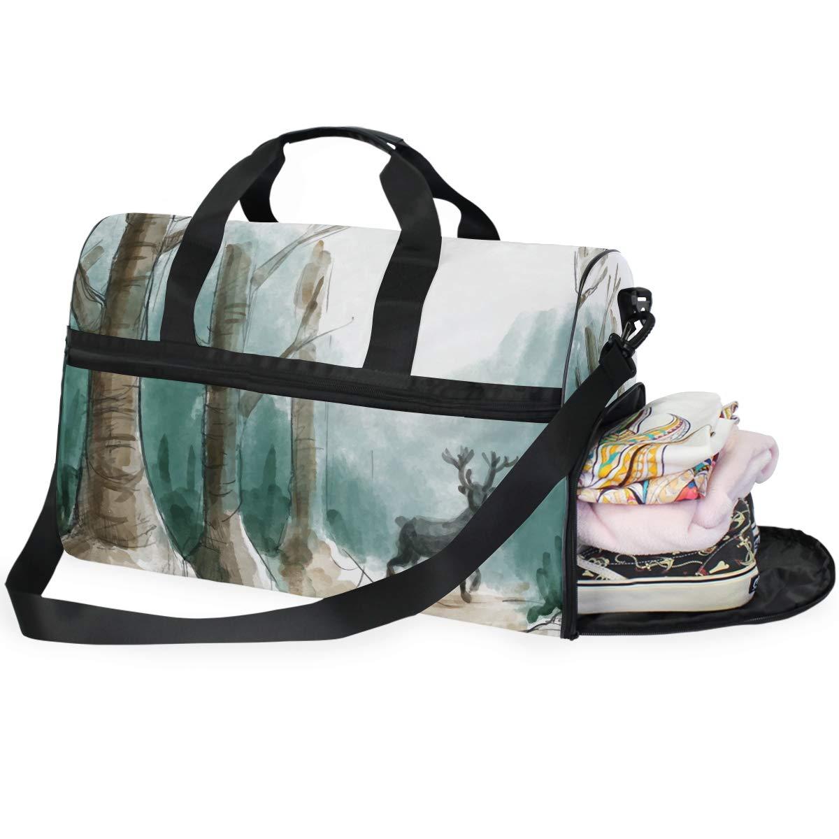 Vacation Gym Travel Duffel Bag Deer In Woods Waterproof Lightweight Luggage bag for Sports