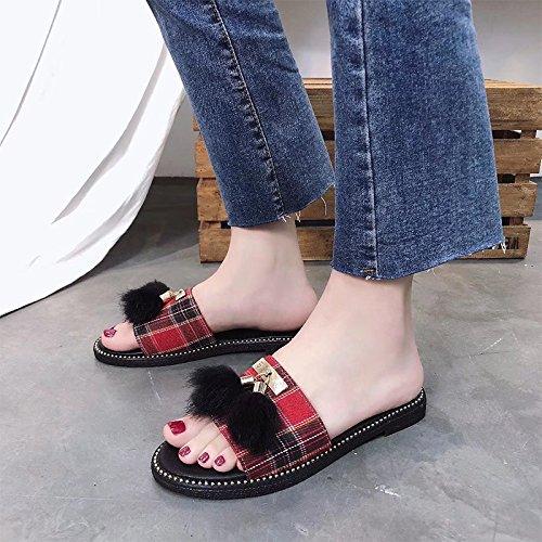 Fond Chaussons D'Été Chaussures Sauvages De Flux Femmes Le Le Par Choses Grille Pour Et Loisirs Du rouge Cool GAOLIM Plat Femme wBAYqE