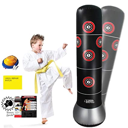 Luxxis Inflatable Punching Bag for Kids, Teens, Boys and Girls, Martial Arts Boxing Punching Dummy, Socker Bopper Toys with Air Pump and Bonus