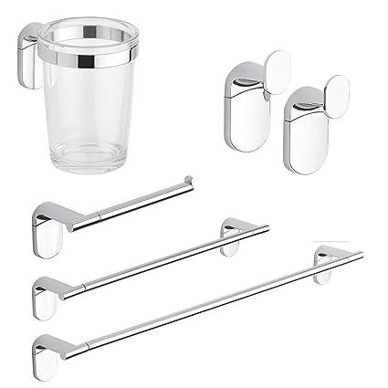 Set accessori bagno kit completo Zero Cromo 5 pezzi in Acciaio ...