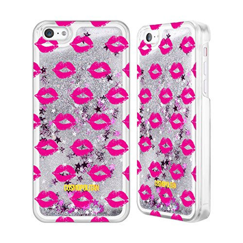 Official Cosmopolitan Pink Kiss Mark Silver Liquid Glitter Case Cover for Apple iPhone 5c