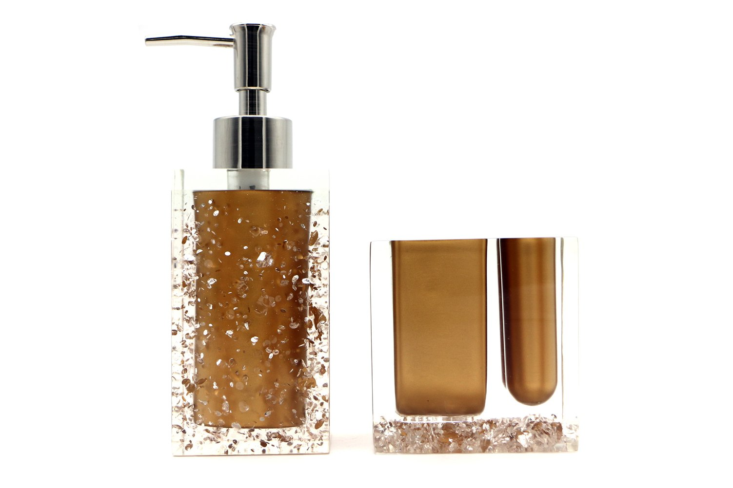 Hot San Resin 5 Pieces Bathroom Accessory Set - Ice Crystal In Gold Design Ensemble,Bathroom Vanities,Home Decor - Handmade items,made of resin material,easy to clean and durable Available in multiple colors to match your bathroom's color Includes 2x tumblers;soap dish;liquid soap dispenser;toothbrush holder - bathroom-accessory-sets, bathroom-accessories, bathroom - 61ZZ6rAVaxL -